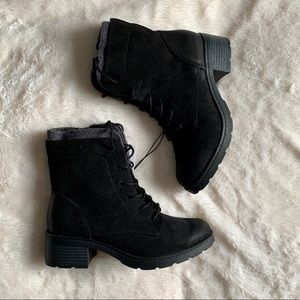 Microsuede Lace-Up Boots